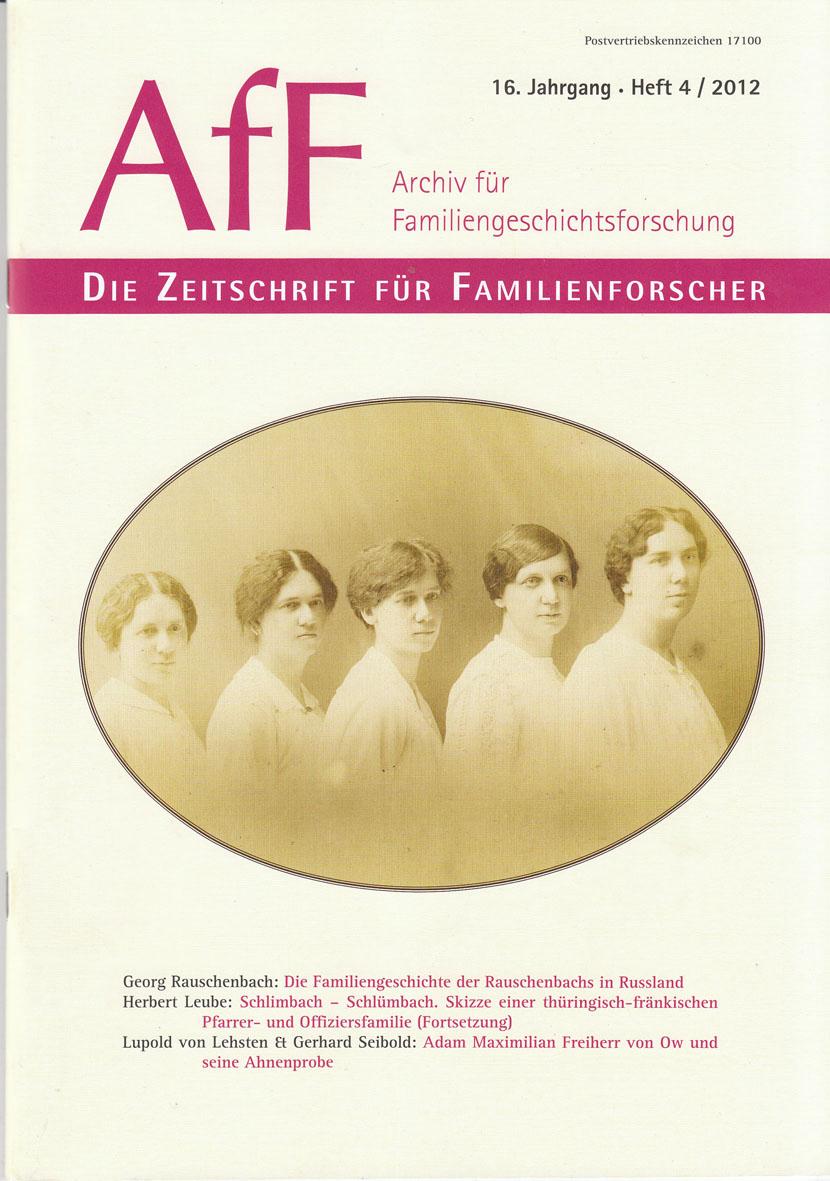 """""""Archiv für Familiengeschichtsforschung"""", Nr. 4/2012"""